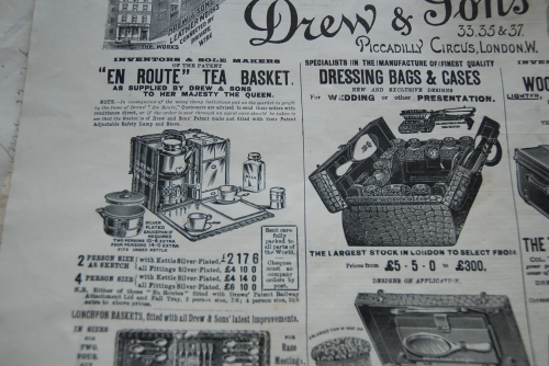 "Tea Basket & Dressing bag on sale from Drew & sones, advertised in ""The Queen, the Lady's Newspaper"", undated."